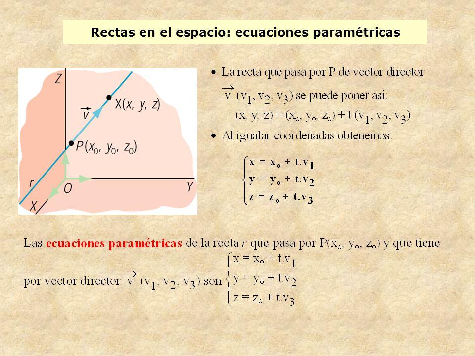 Rectas en el espacio: ecuación en forma continua Las ecuaciones paramétricas de la recta r que pasa por el punto P (x 0,y 0,z 0 ) y tienen por vector director (v 1,v 2,v 3 ) son: Las ecuaciones en forma continua de la recta r que pasa por P(x o, y o, z o ) y que tiene por vector director (v1, v2, v3) son: Despejando t en cada una de ellas e igualando, obtenemos las ecuaciones de la recta que no dependen de ningún parámetro