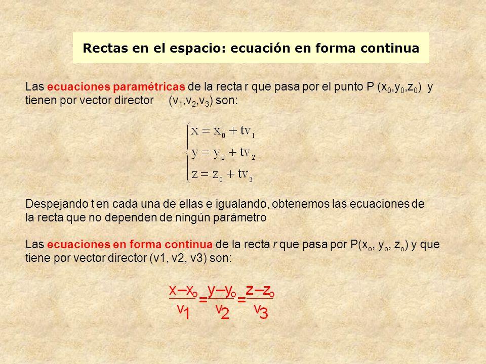 Rectas en el espacio: ecuaciones reducidas o implícitas De aquí obtenemos tres ecuaciones: Como la tercera ecuación es combinación lineal de la otras dos, suprimiendo una ellas, la tercera por ejemplo, y operando obtenemos: Este par de ecuaciones son las ecuaciones reducidas o implícitas de la recta.