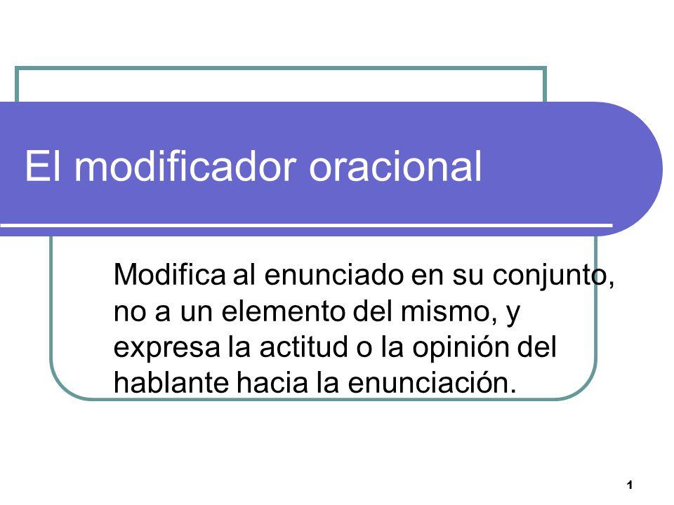 1 El modificador oracional Modifica al enunciado en su conjunto, no a un elemento del mismo, y expresa la actitud o la opinión del hablante hacia la enunciación.