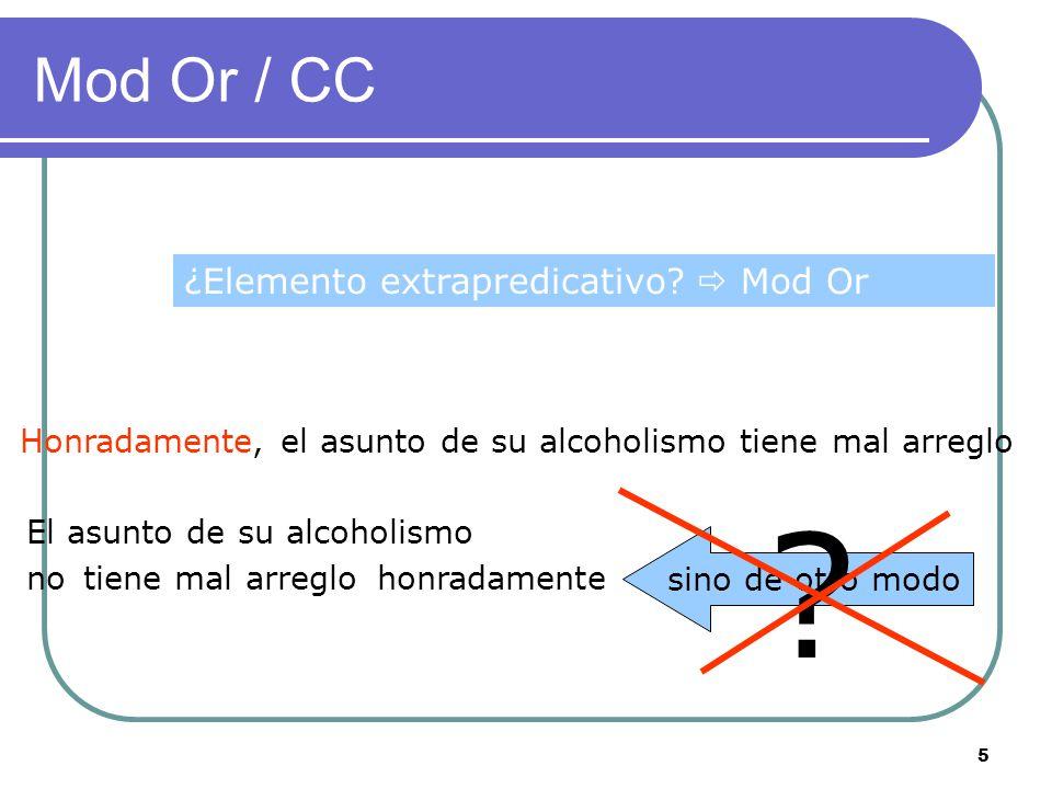 5 Mod Or / CC Honradamente, el asunto de su alcoholismo tiene mal arreglo El asunto de su alcoholismo notiene mal arreglohonradamente sino de otro modo .