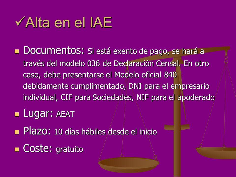 Alta en el IAE Alta en el IAE Documentos: Si está exento de pago, se hará a través del modelo 036 de Declaración Censal. En otro caso, debe presentars