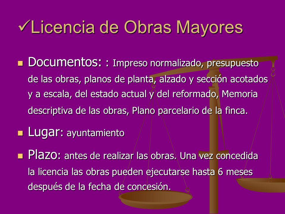 Licencia de Obras Mayores Licencia de Obras Mayores Documentos: : Impreso normalizado, presupuesto de las obras, planos de planta, alzado y sección ac