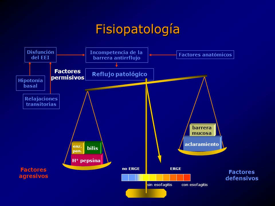 Fisiopatología Disfunción del EEI Hipotonía basal Relajaciones transitorias Incompetencia de la barrera antirrflujo Reflujo patológico Factores anatóm