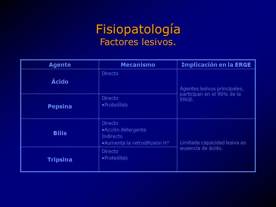 Fisiopatología AgenteMecanismoImplicación en la ERGE Ácido Directo Agentes lesivos principales, participan en el 90% de la ERGE. Pepsina Directo Prote