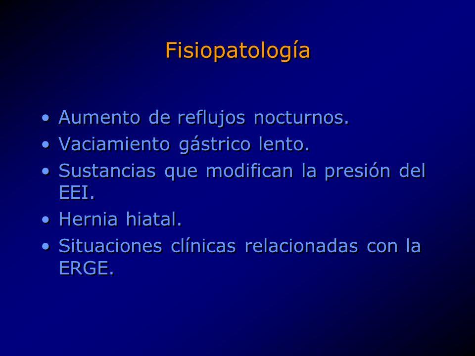 Fisiopatología Aumento de reflujos nocturnos. Vaciamiento gástrico lento. Sustancias que modifican la presión del EEI. Hernia hiatal. Situaciones clín
