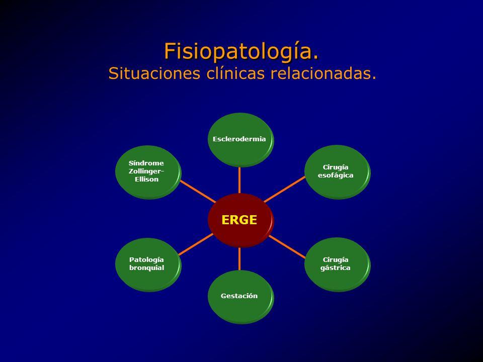 Fisiopatología. ERGE Patología bronquial Síndrome Zollinger- Ellison Esclerodermia Gestación Cirugía esofágica Cirugía gástrica Situaciones clínicas r