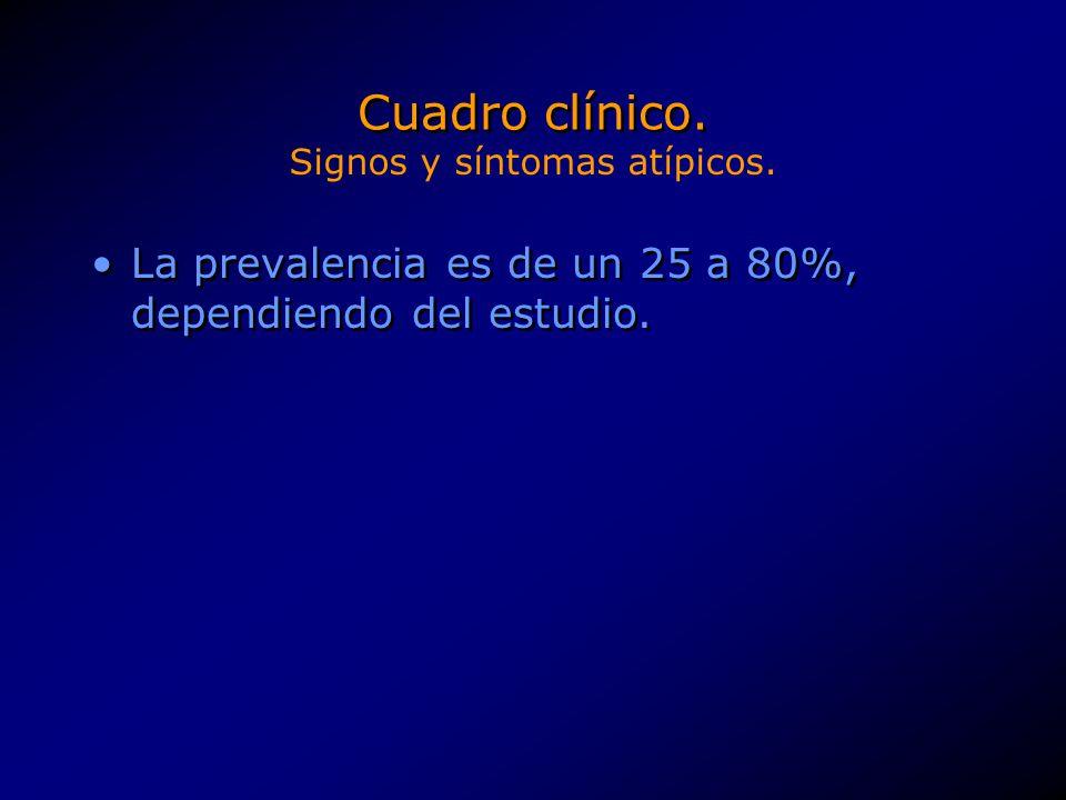 La prevalencia es de un 25 a 80%, dependiendo del estudio. Cuadro clínico. Signos y síntomas atípicos.