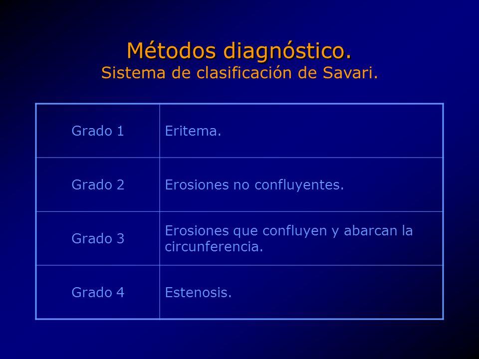 Métodos diagnóstico. Grado 1Eritema. Grado 2Erosiones no confluyentes. Grado 3 Erosiones que confluyen y abarcan la circunferencia. Grado 4Estenosis.