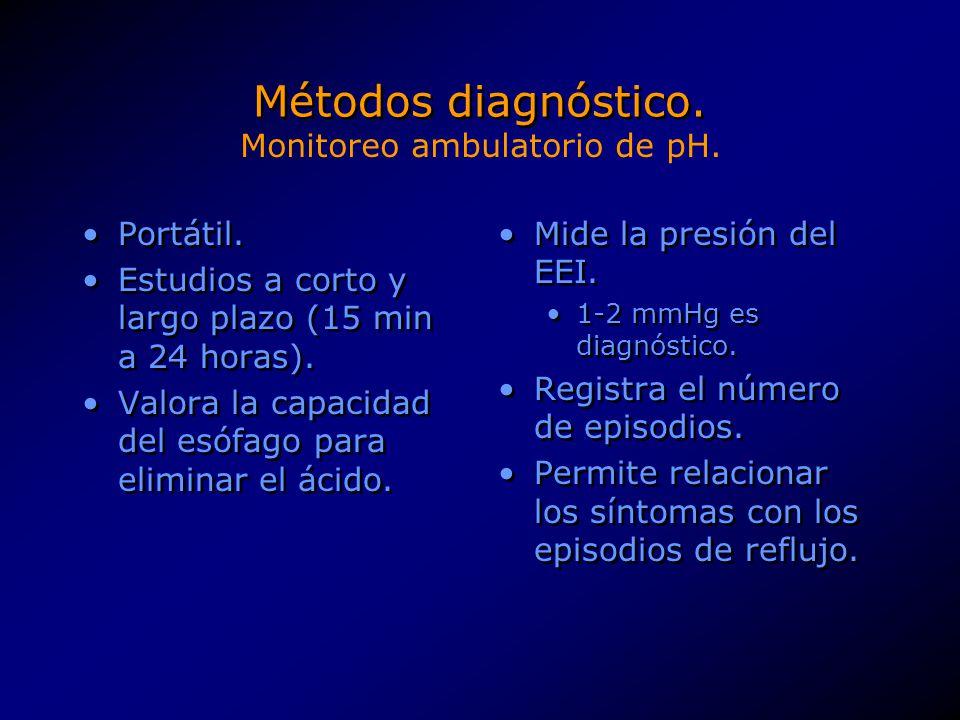 Métodos diagnóstico. Portátil. Estudios a corto y largo plazo (15 min a 24 horas). Valora la capacidad del esófago para eliminar el ácido. Portátil. E