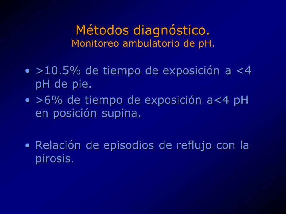 Métodos diagnóstico. >10.5% de tiempo de exposición a <4 pH de pie. >6% de tiempo de exposición a<4 pH en posición supina. Relación de episodios de re