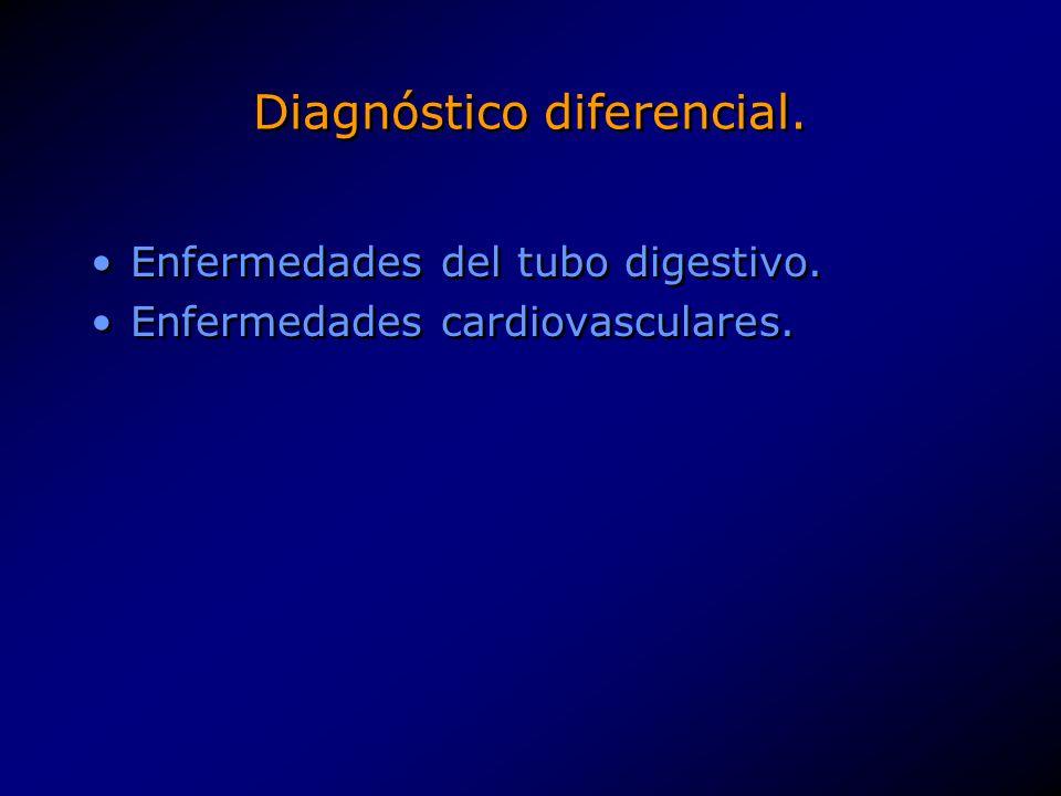Diagnóstico diferencial. Enfermedades del tubo digestivo. Enfermedades cardiovasculares. Enfermedades del tubo digestivo. Enfermedades cardiovasculare