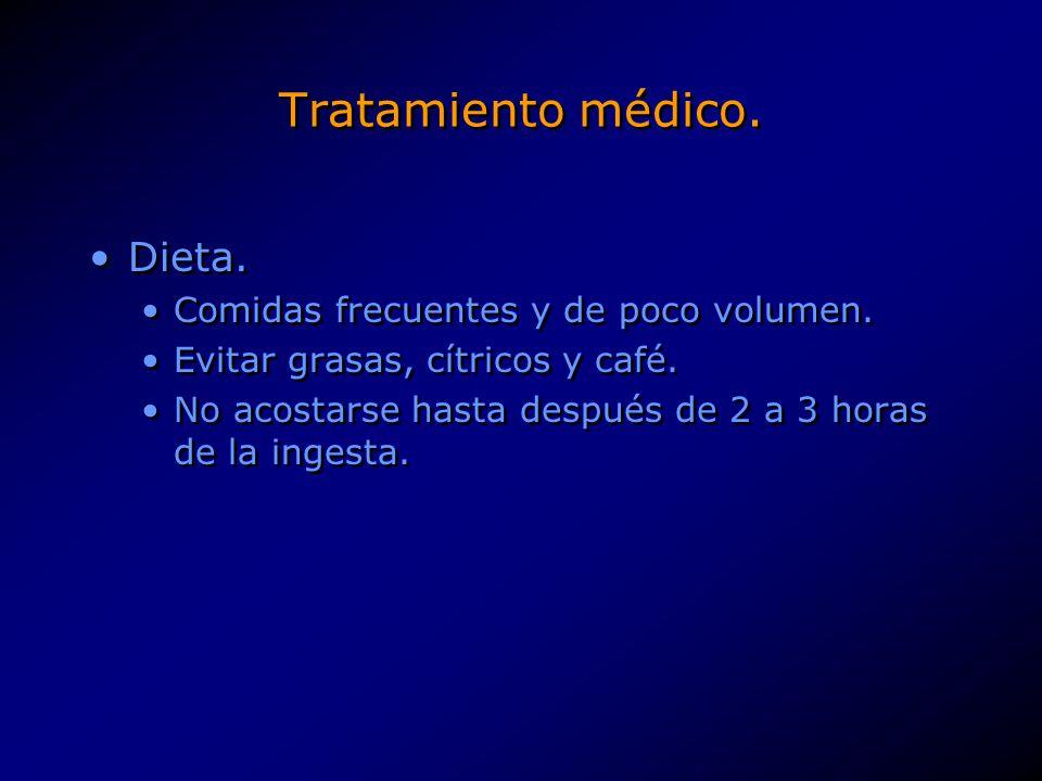 Tratamiento médico. Dieta. Comidas frecuentes y de poco volumen. Evitar grasas, cítricos y café. No acostarse hasta después de 2 a 3 horas de la inges
