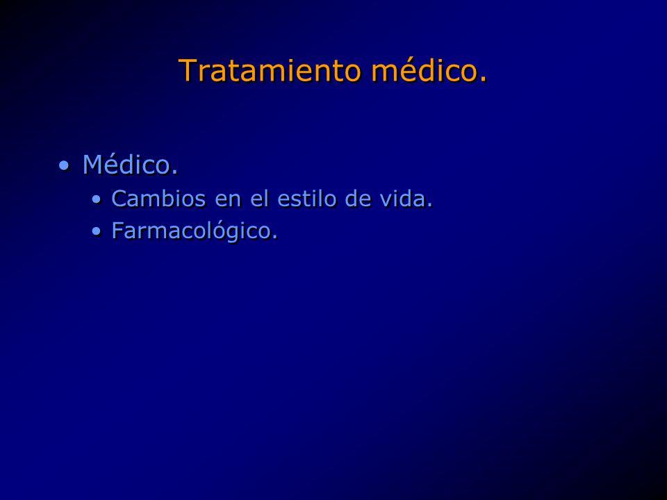 Tratamiento médico. Médico. Cambios en el estilo de vida. Farmacológico. Médico. Cambios en el estilo de vida. Farmacológico.