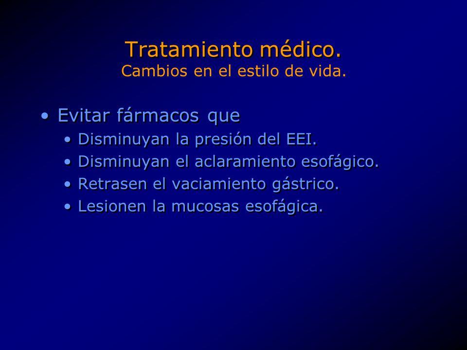 Tratamiento médico. Evitar fármacos que Disminuyan la presión del EEI. Disminuyan el aclaramiento esofágico. Retrasen el vaciamiento gástrico. Lesione