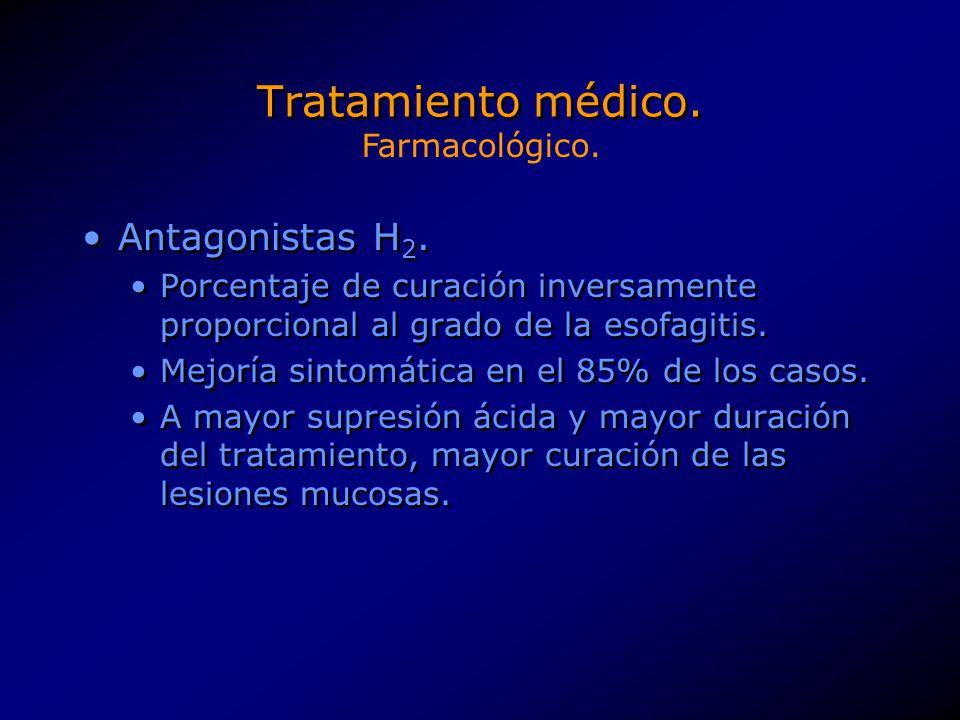 Tratamiento médico. Antagonistas H 2. Porcentaje de curación inversamente proporcional al grado de la esofagitis. Mejoría sintomática en el 85% de los