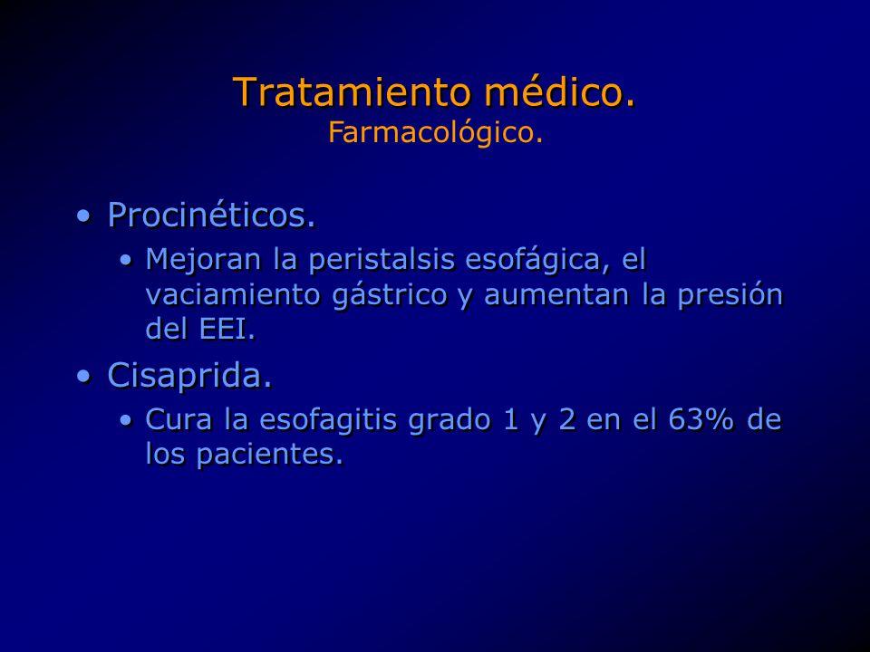 Tratamiento médico. Procinéticos. Mejoran la peristalsis esofágica, el vaciamiento gástrico y aumentan la presión del EEI. Cisaprida. Cura la esofagit