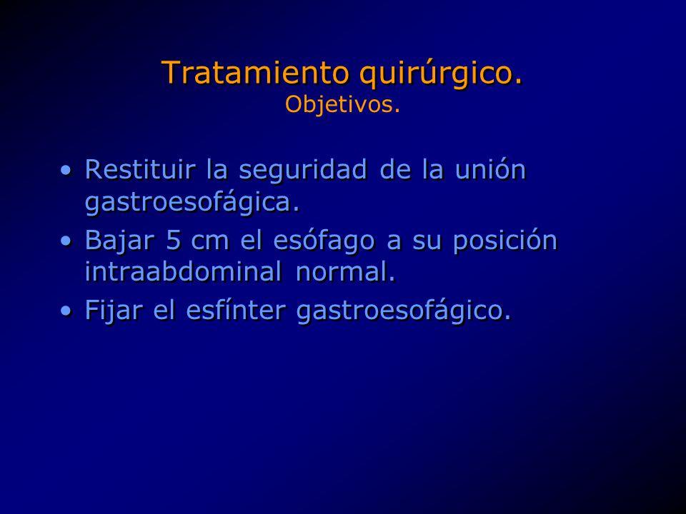 Tratamiento quirúrgico. Restituir la seguridad de la unión gastroesofágica. Bajar 5 cm el esófago a su posición intraabdominal normal. Fijar el esfínt