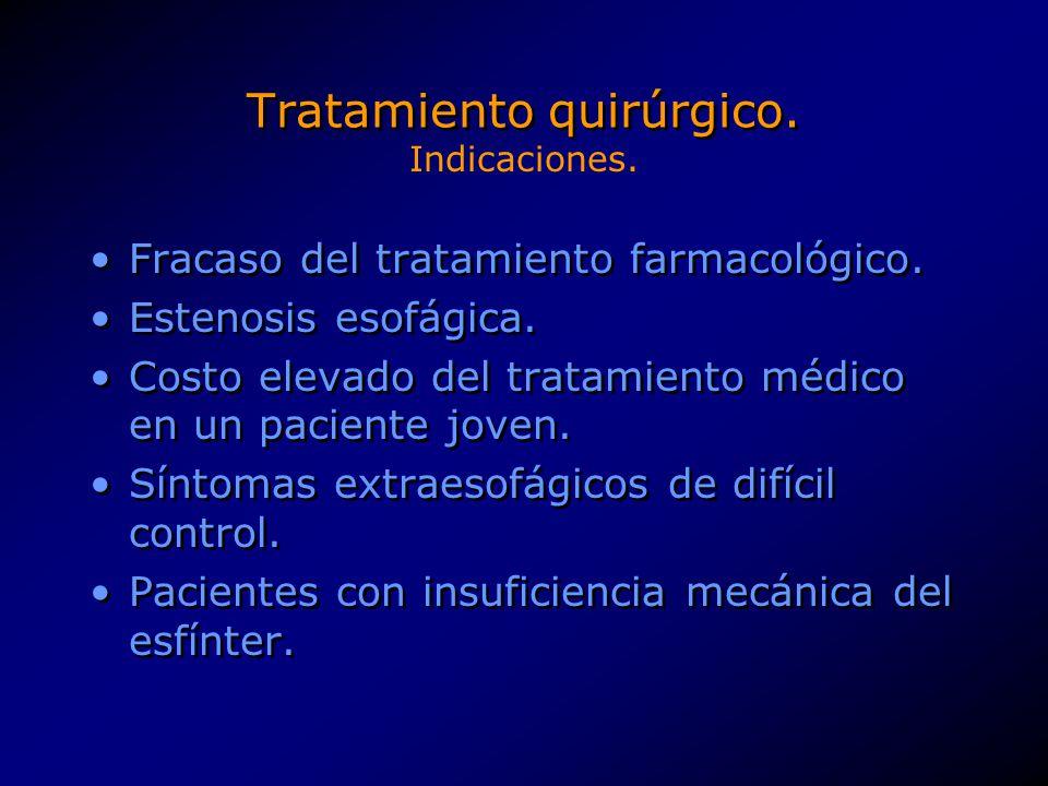 Tratamiento quirúrgico. Fracaso del tratamiento farmacológico. Estenosis esofágica. Costo elevado del tratamiento médico en un paciente joven. Síntoma