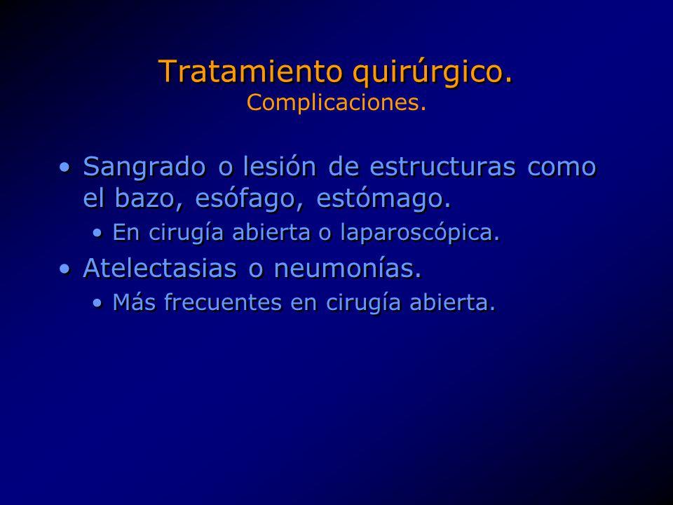 Tratamiento quirúrgico. Sangrado o lesión de estructuras como el bazo, esófago, estómago. En cirugía abierta o laparoscópica. Atelectasias o neumonías