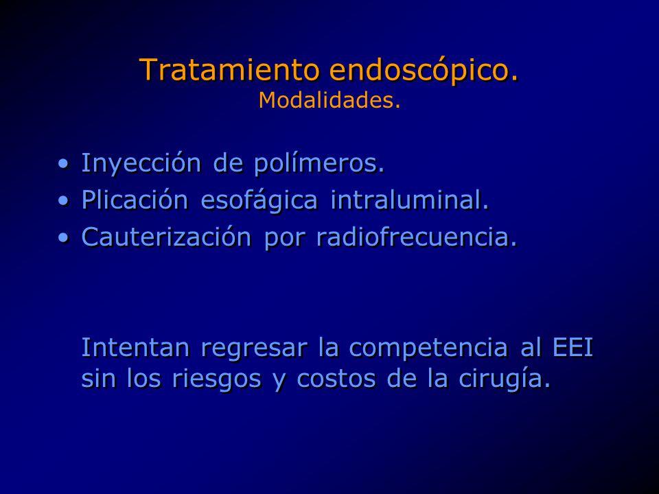 Tratamiento endoscópico. Inyección de polímeros. Plicación esofágica intraluminal. Cauterización por radiofrecuencia. Intentan regresar la competencia