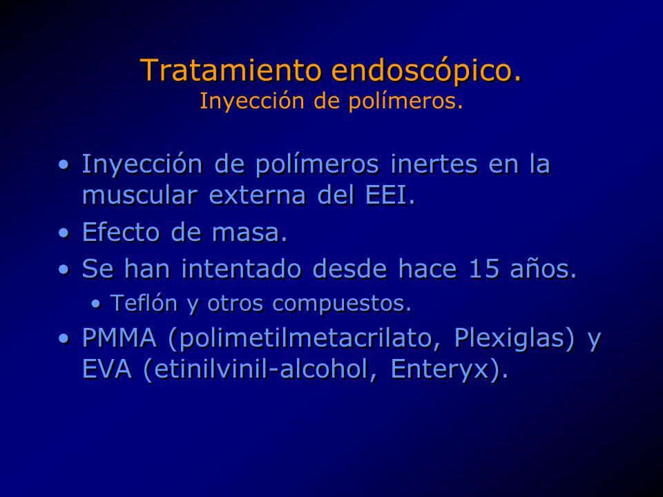 Tratamiento endoscópico. Inyección de polímeros inertes en la muscular externa del EEI. Efecto de masa. Se han intentado desde hace 15 años. Teflón y