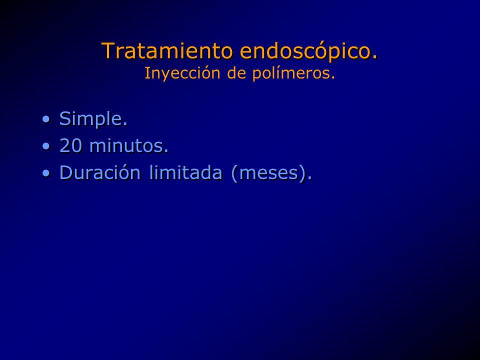 Tratamiento endoscópico. Simple. 20 minutos. Duración limitada (meses). Simple. 20 minutos. Duración limitada (meses). Inyección de polímeros.