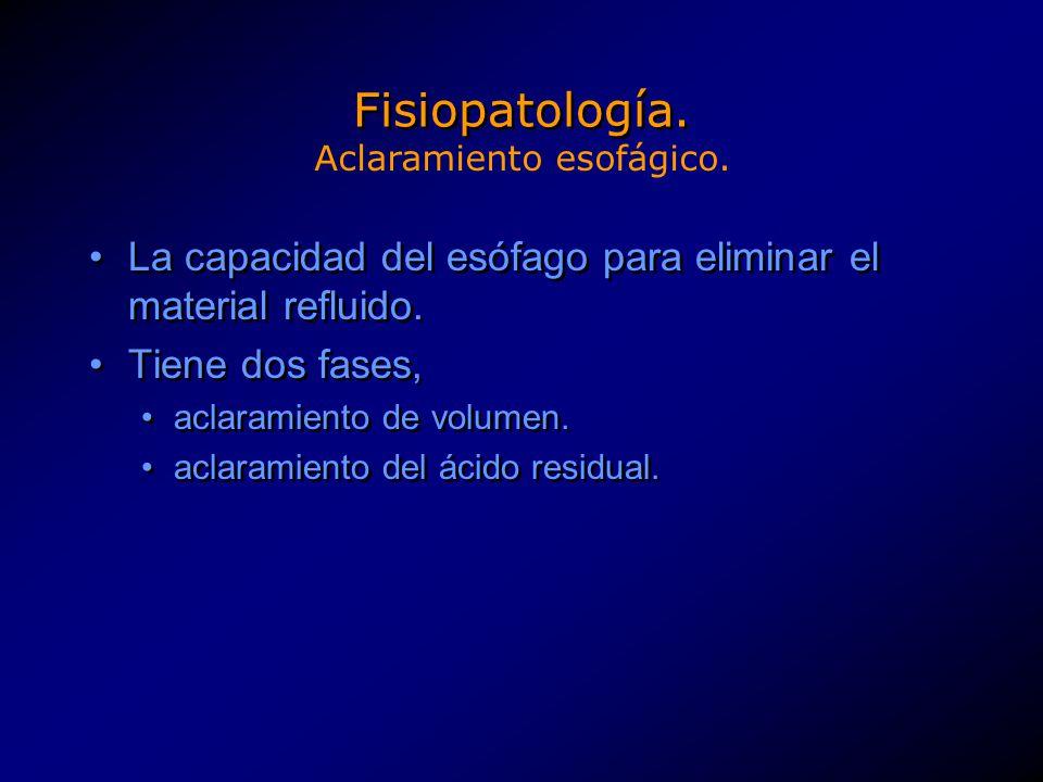 Fisiopatología. La capacidad del esófago para eliminar el material refluido. Tiene dos fases, aclaramiento de volumen. aclaramiento del ácido residual