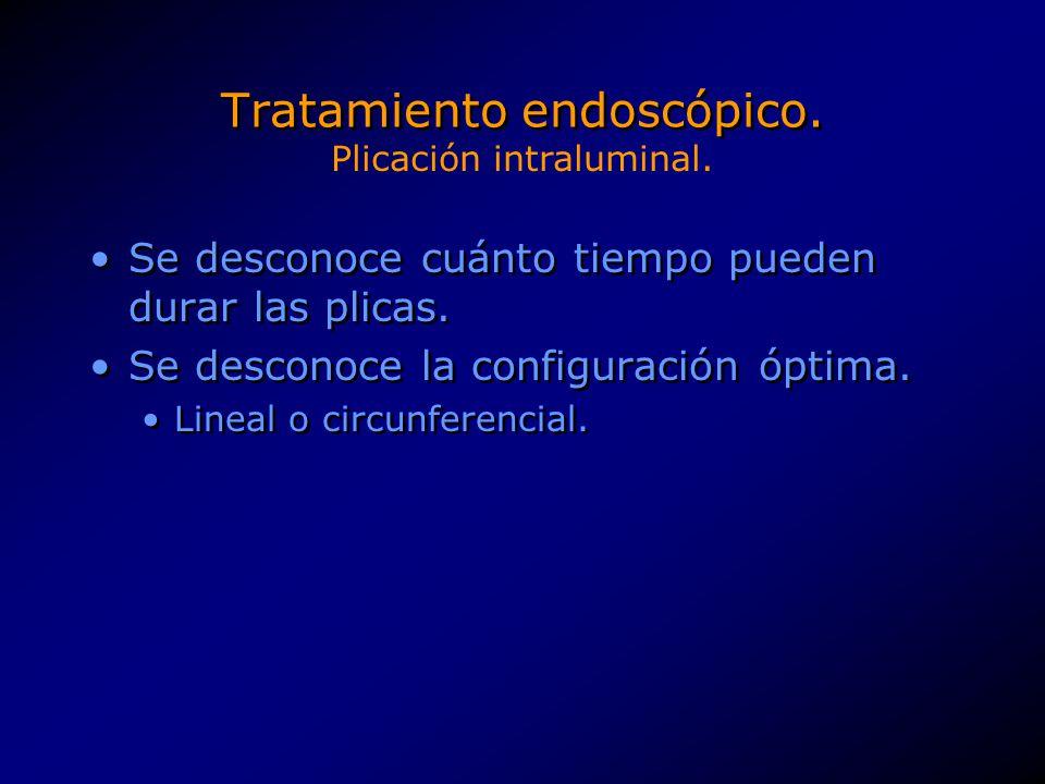 Tratamiento endoscópico. Se desconoce cuánto tiempo pueden durar las plicas. Se desconoce la configuración óptima. Lineal o circunferencial. Se descon