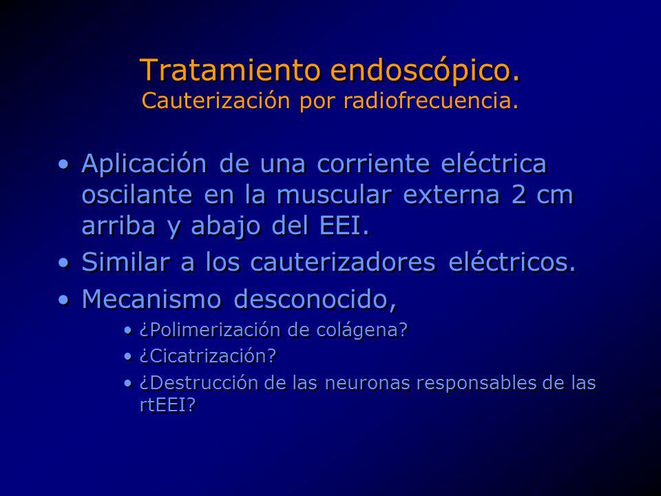 Tratamiento endoscópico. Aplicación de una corriente eléctrica oscilante en la muscular externa 2 cm arriba y abajo del EEI. Similar a los cauterizado