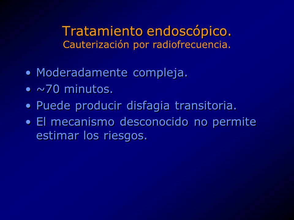 Tratamiento endoscópico. Moderadamente compleja. ~70 minutos. Puede producir disfagia transitoria. El mecanismo desconocido no permite estimar los rie