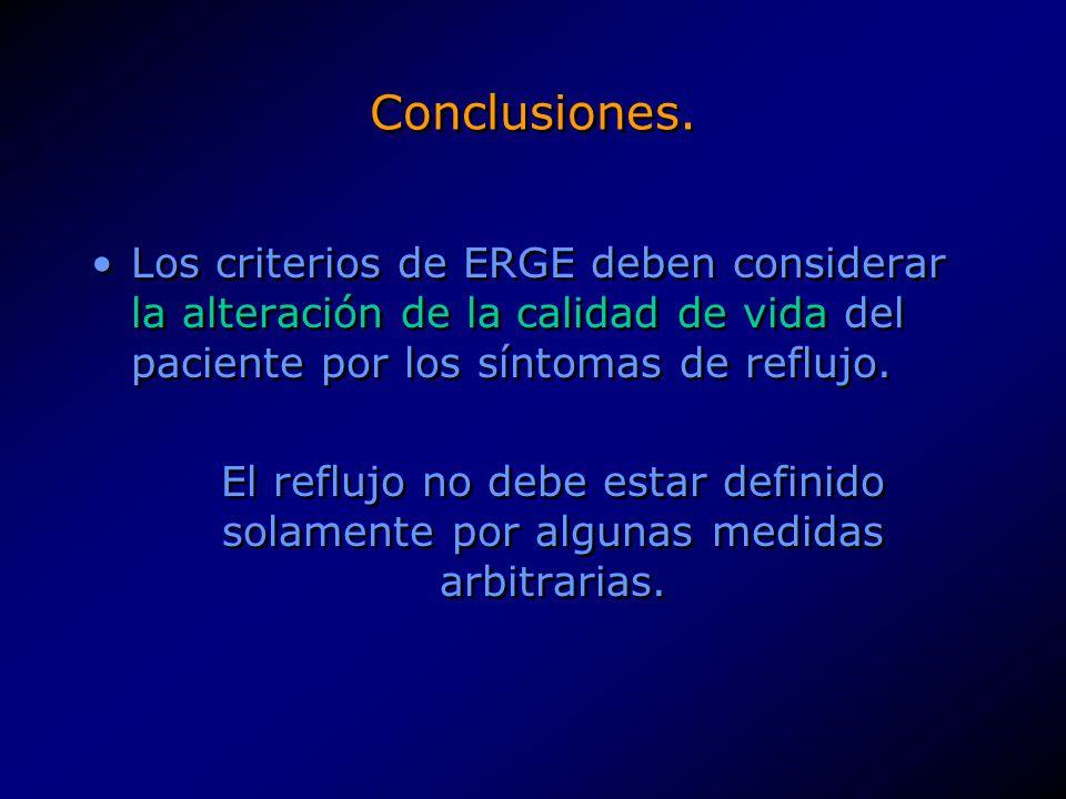 Conclusiones. Los criterios de ERGE deben considerar la alteración de la calidad de vida del paciente por los síntomas de reflujo. El reflujo no debe