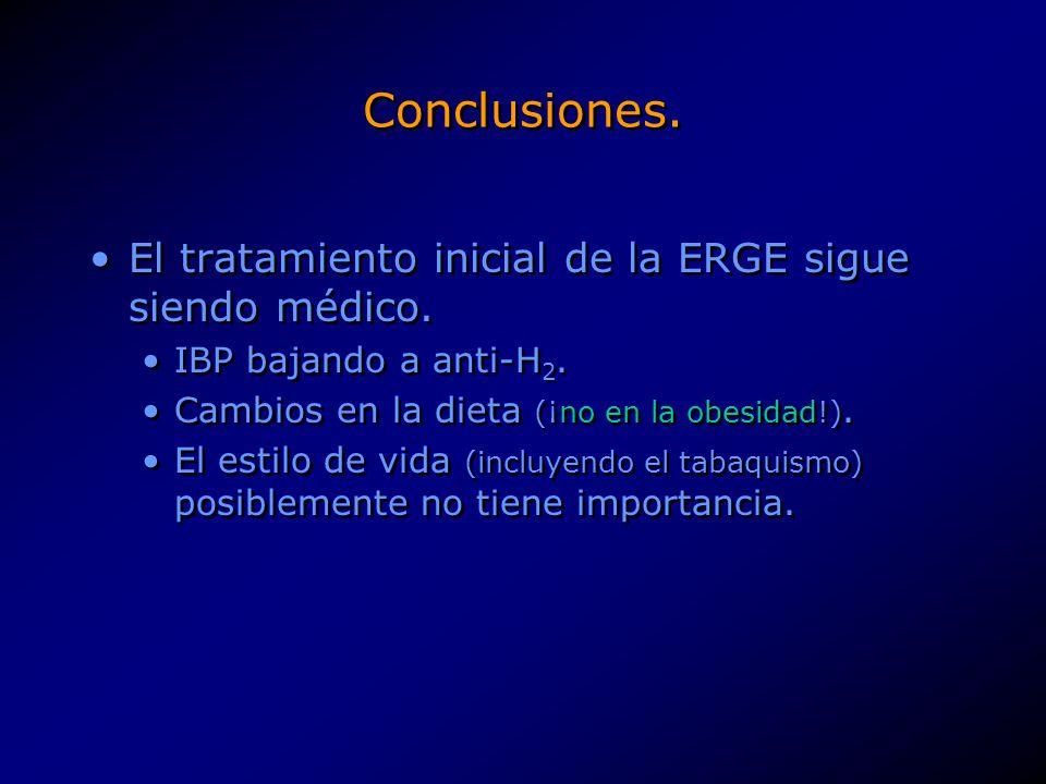 Conclusiones. El tratamiento inicial de la ERGE sigue siendo médico. IBP bajando a anti-H 2. Cambios en la dieta (¡no en la obesidad!). El estilo de v