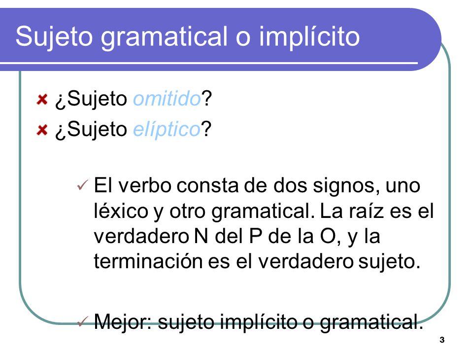 3 Sujeto gramatical o implícito ¿Sujeto omitido.¿Sujeto elíptico.