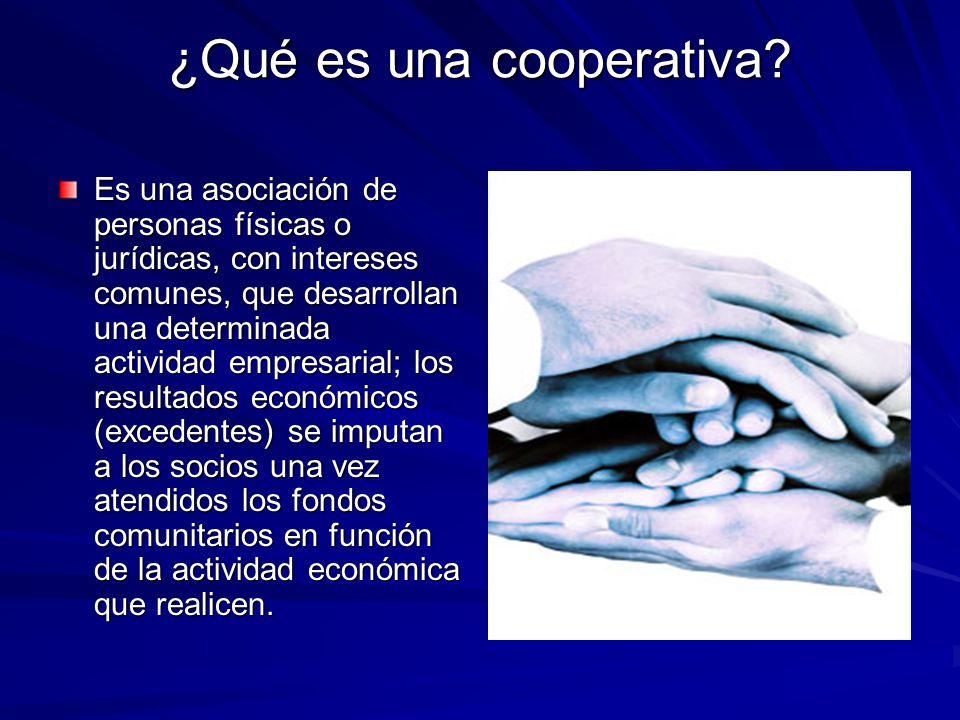 ¿Qué es una cooperativa? Es una asociación de personas físicas o jurídicas, con intereses comunes, que desarrollan una determinada actividad empresari