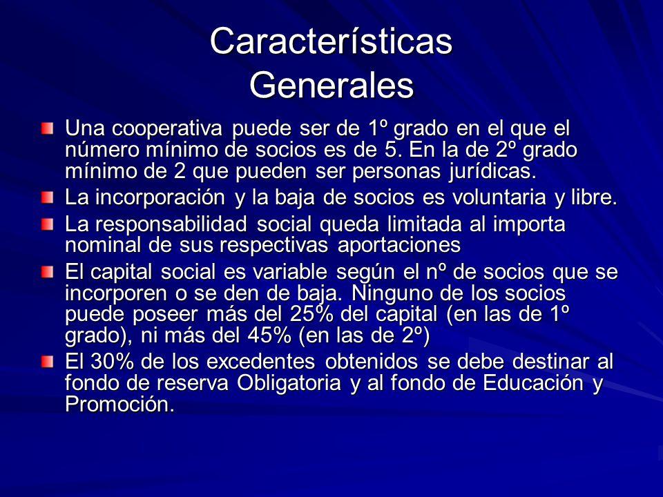 Características Generales Una cooperativa puede ser de 1º grado en el que el número mínimo de socios es de 5. En la de 2º grado mínimo de 2 que pueden
