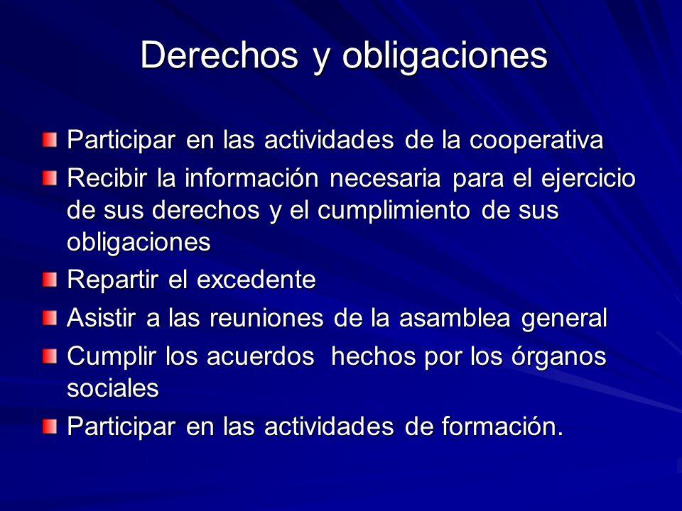 Derechos y obligaciones Participar en las actividades de la cooperativa Recibir la información necesaria para el ejercicio de sus derechos y el cumpli