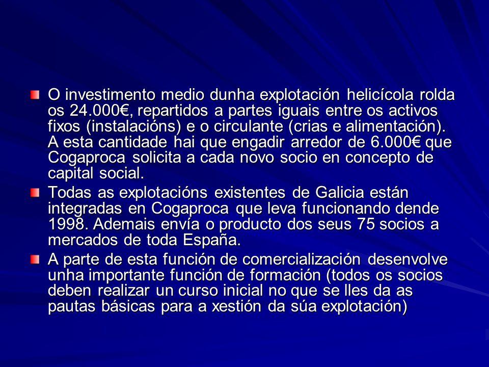 O investimento medio dunha explotación helicícola rolda os 24.000, repartidos a partes iguais entre os activos fixos (instalacións) e o circulante (cr