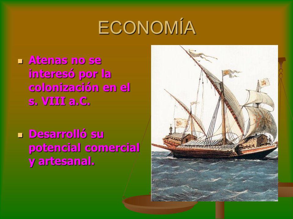 ECONOMÍA Atenas no se interesó por la colonización en el s. VIII a.C. Atenas no se interesó por la colonización en el s. VIII a.C. Desarrolló su poten