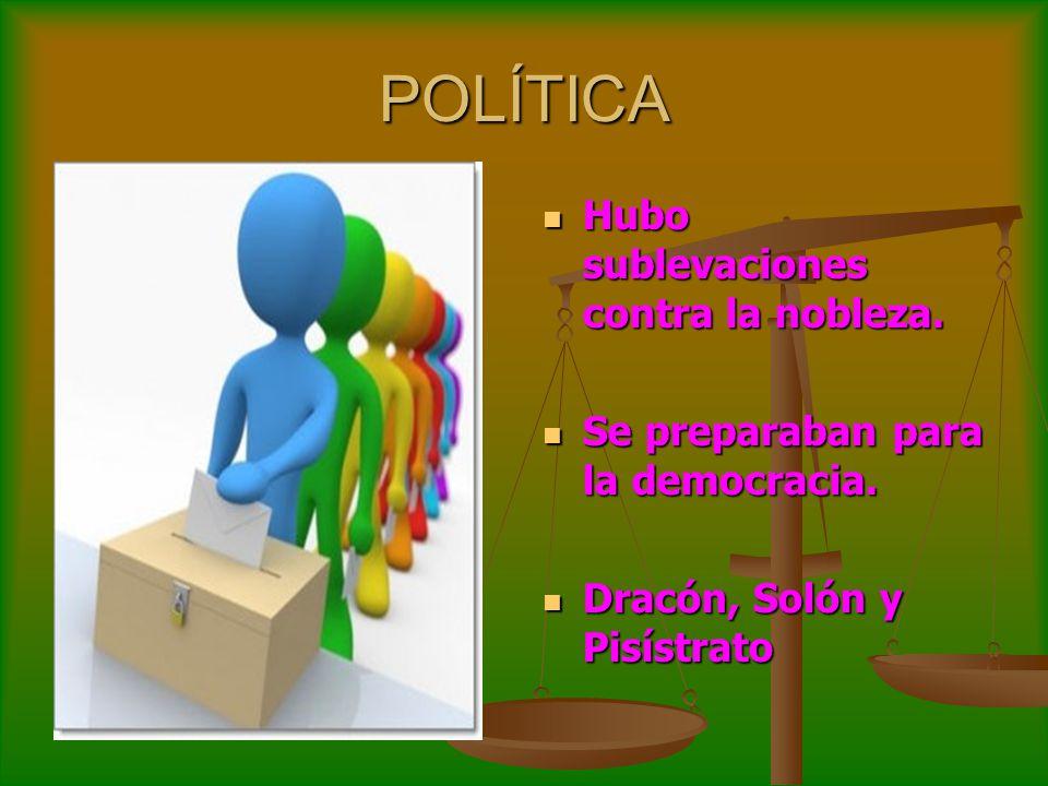 POLÍTICA Hubo sublevaciones contra la nobleza. Hubo sublevaciones contra la nobleza. Se preparaban para la democracia. Se preparaban para la democraci