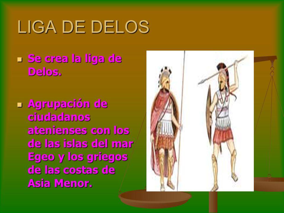 LIGA DE DELOS Se crea la liga de Delos. Se crea la liga de Delos. Agrupación de ciudadanos atenienses con los de las islas del mar Egeo y los griegos