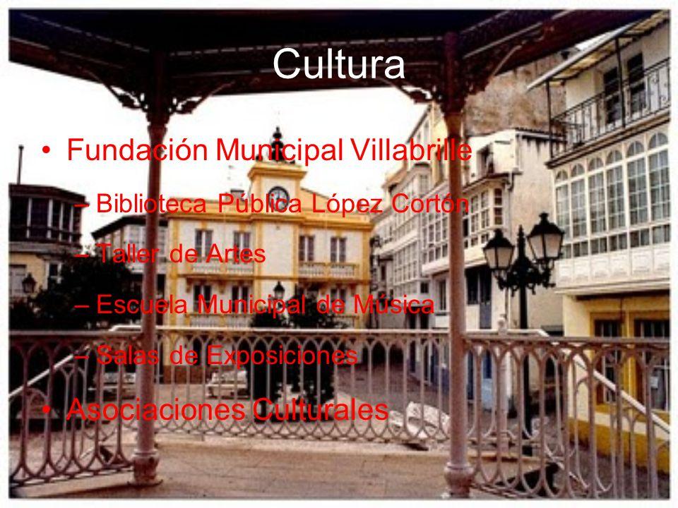 Cultura Fundación Municipal Villabrille –Biblioteca Pública López Cortón –Taller de Artes –Escuela Municipal de Música –Salas de Exposiciones Asociaci