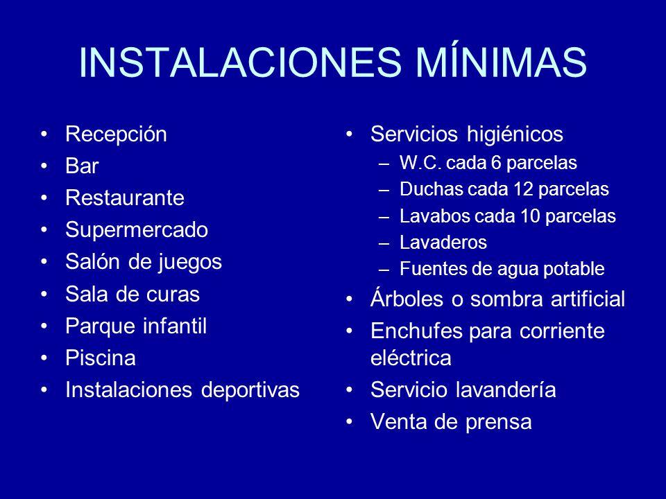INSTALACIONES MÍNIMAS Recepción Bar Restaurante Supermercado Salón de juegos Sala de curas Parque infantil Piscina Instalaciones deportivas Servicios