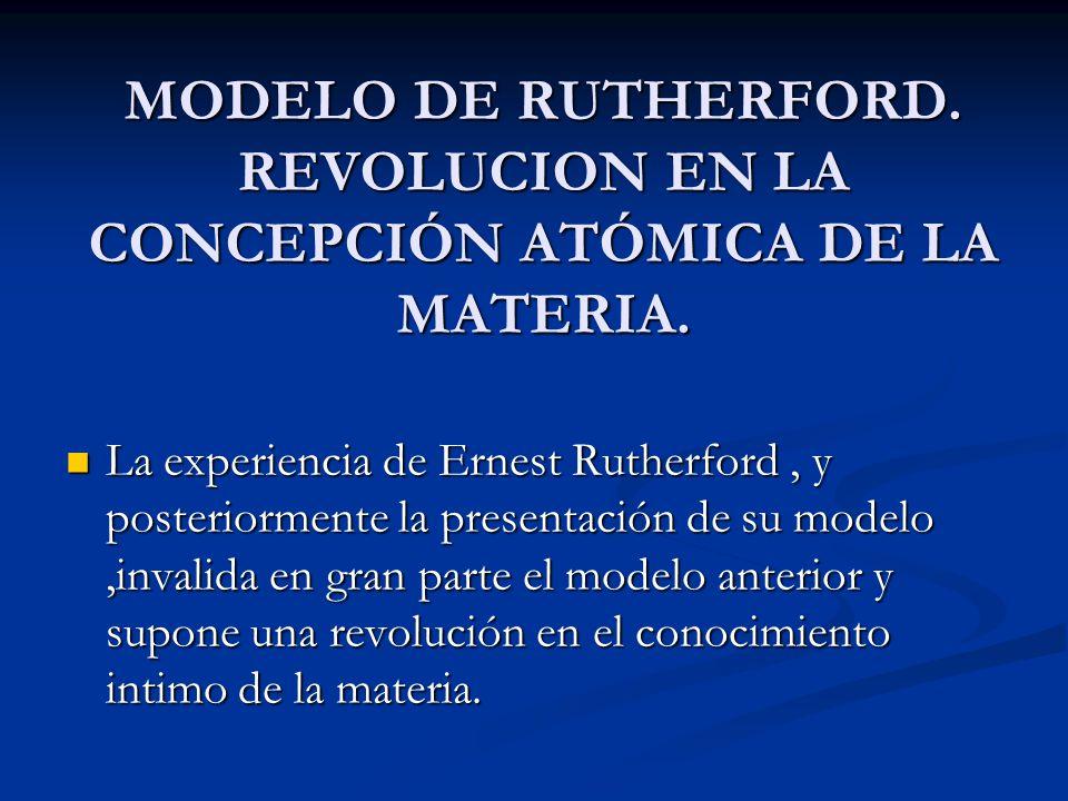 MODELO DE RUTHERFORD. REVOLUCION EN LA CONCEPCIÓN ATÓMICA DE LA MATERIA. La experiencia de Ernest Rutherford, y posteriormente la presentación de su m