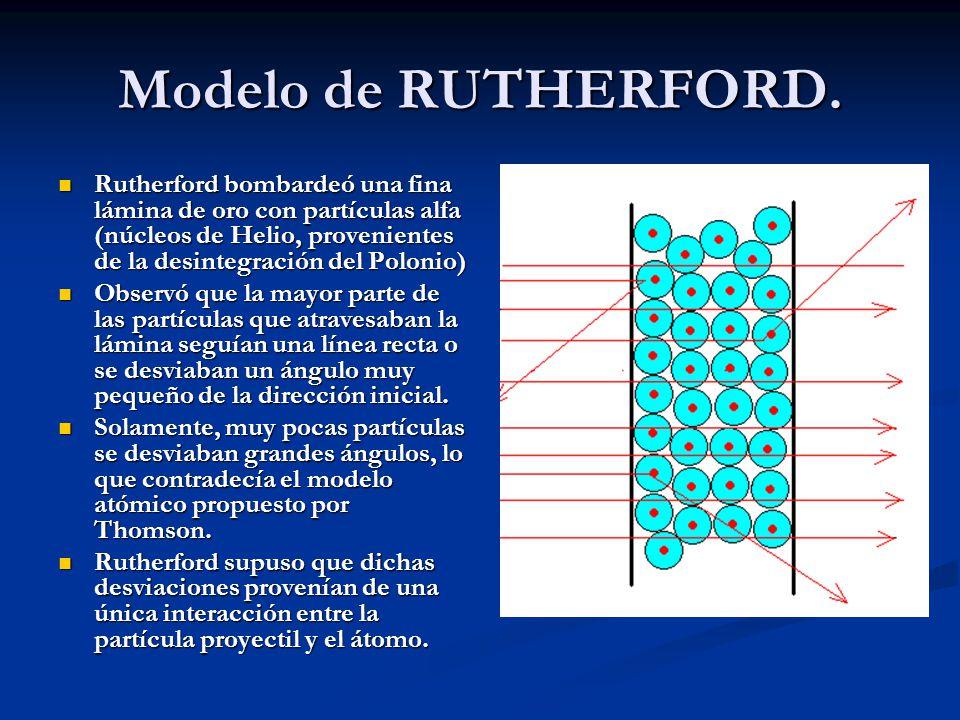 Modelo de RUTHERFORD. Rutherford bombardeó una fina lámina de oro con partículas alfa (núcleos de Helio, provenientes de la desintegración del Polonio
