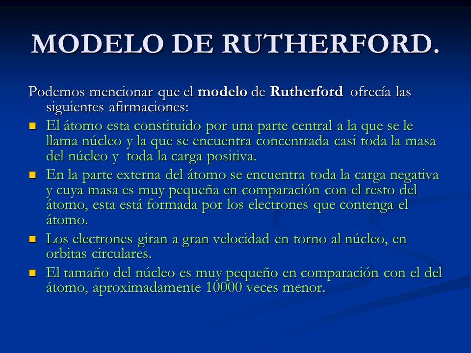 MODELO DE RUTHERFORD. Podemos mencionar que el modelo de Rutherford ofrecía las siguientes afirmaciones: El átomo esta constituido por una parte centr