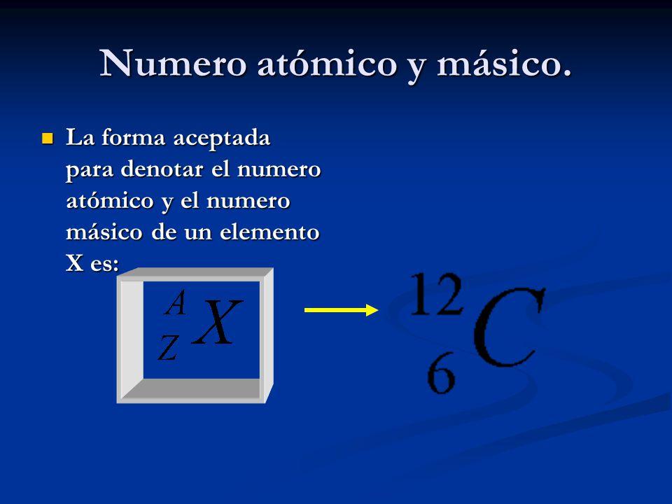 Numero atómico y másico. La forma aceptada para denotar el numero atómico y el numero másico de un elemento X es: La forma aceptada para denotar el nu
