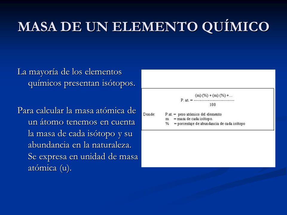 MASA DE UN ELEMENTO QUÍMICO La mayoría de los elementos químicos presentan isótopos. Para calcular la masa atómica de un átomo tenemos en cuenta la ma