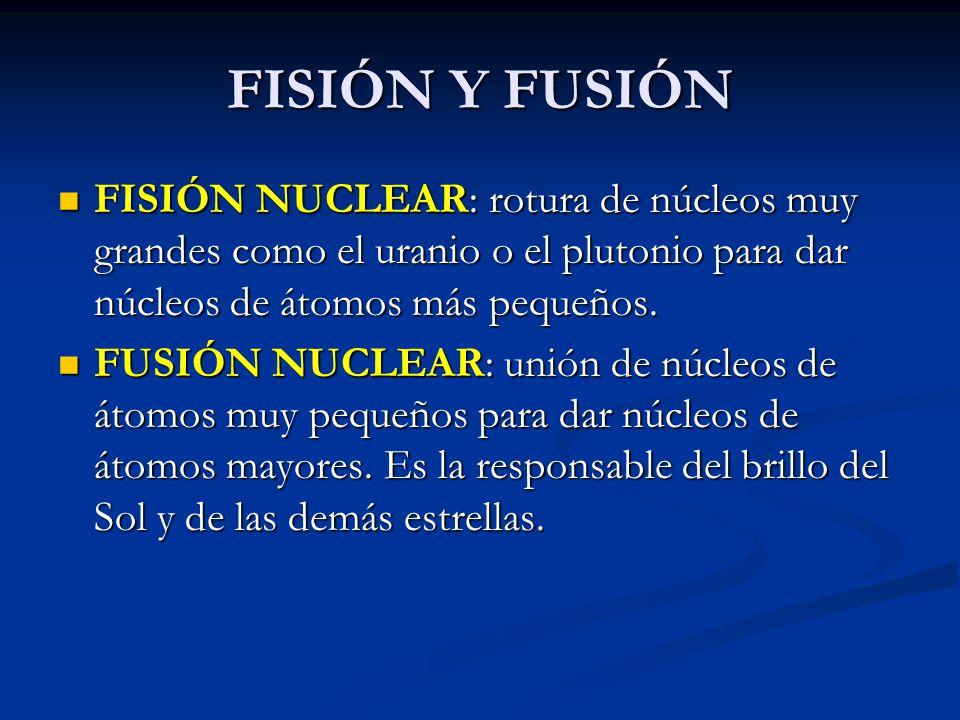 FISIÓN Y FUSIÓN FISIÓN NUCLEAR: rotura de núcleos muy grandes como el uranio o el plutonio para dar núcleos de átomos más pequeños. FISIÓN NUCLEAR: ro