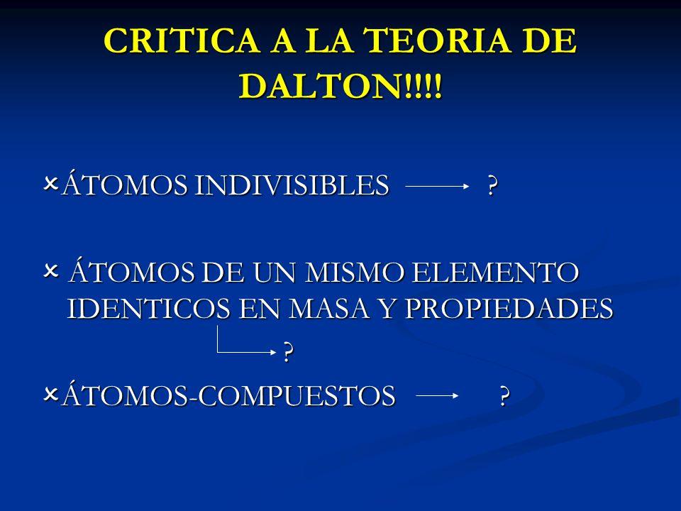 CRITICA A LA TEORIA DE DALTON!!!! ÁTOMOS INDIVISIBLES ? ÁTOMOS INDIVISIBLES ? ÁTOMOS DE UN MISMO ELEMENTO IDENTICOS EN MASA Y PROPIEDADES ÁTOMOS DE UN