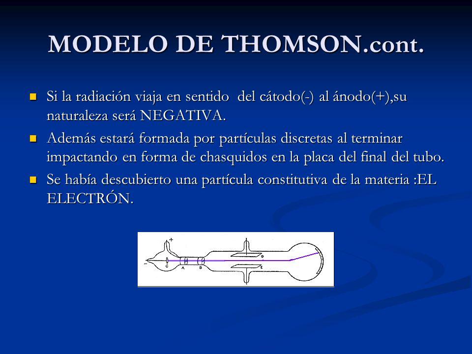 MODELO DE THOMSON.cont. Si la radiación viaja en sentido del cátodo(-) al ánodo(+),su naturaleza será NEGATIVA. Si la radiación viaja en sentido del c